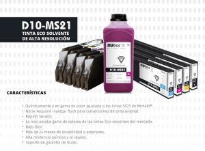 Tinta eco solvente de alta resolución d10-ms21